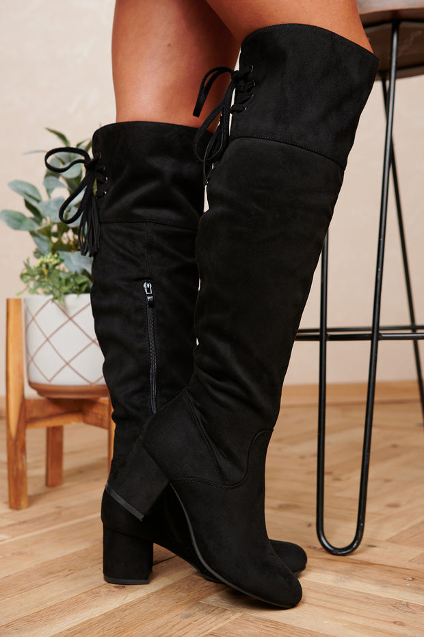 Find Your Way Faux Suede Over The Knee Boots (Black) - NanaMacs
