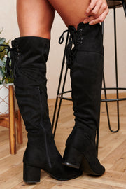 Find Your Way Faux Suede Over The Knee Boots (Black)