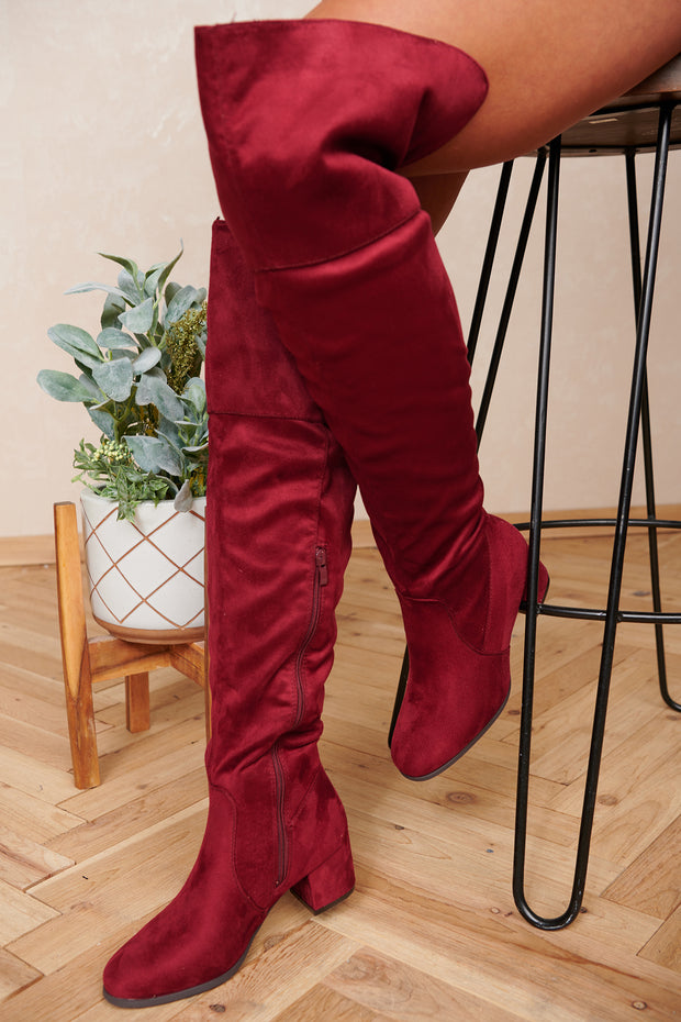Doing My Thing Thigh High Boots (Burgundy) - NanaMacs