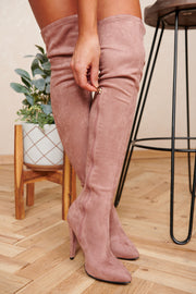 Night On The Town Faux Suede Thigh High Boots (Dark Blush) - NanaMacs