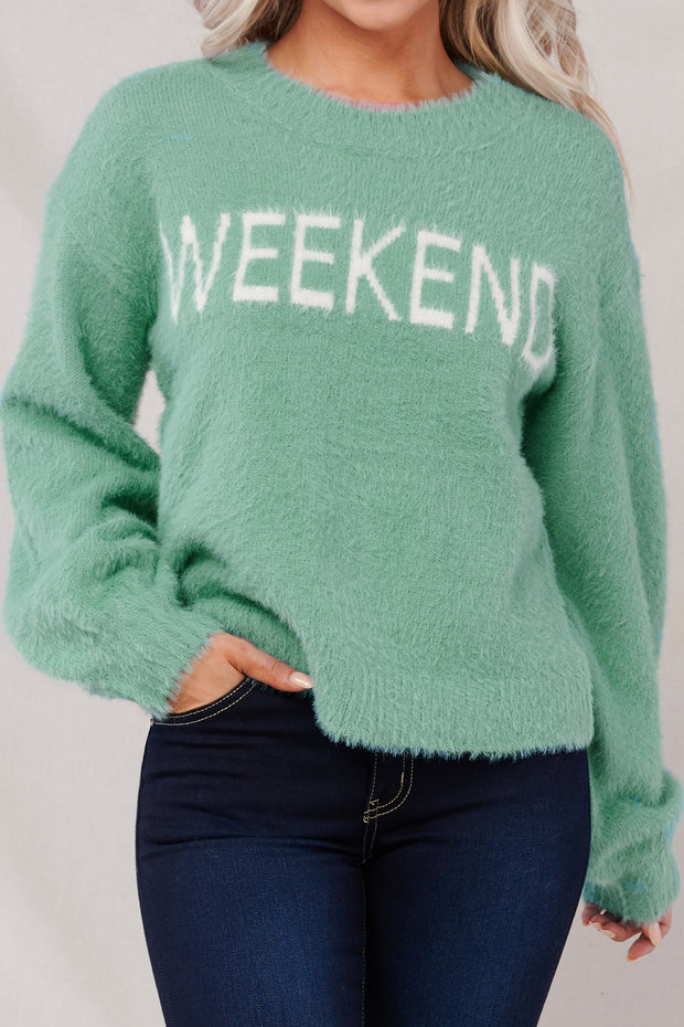 Cozy Weekend Sweater (Mint) - NanaMacs