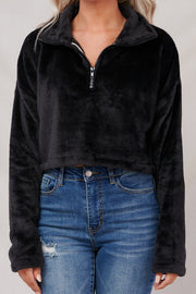 Feeling It Cropped Pullover Jacket (Black)