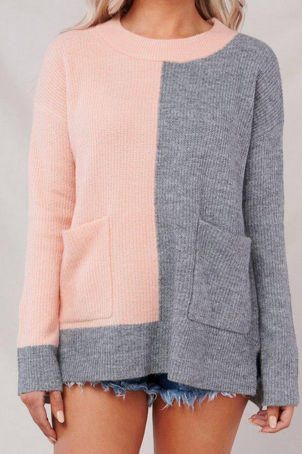 Sweet And Charming Sweater (Pink/Charcoal) - NanaMacs