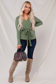 Wrap It Up Long Sleeve Surplice Knit Top (Olive)