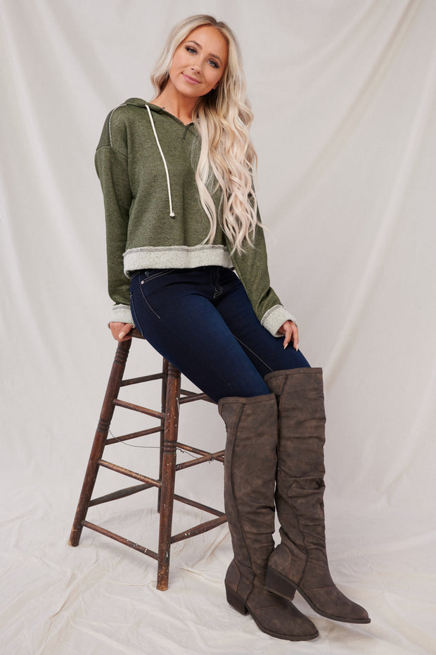 Better Than Before Cropped Hoodie (Olive)
