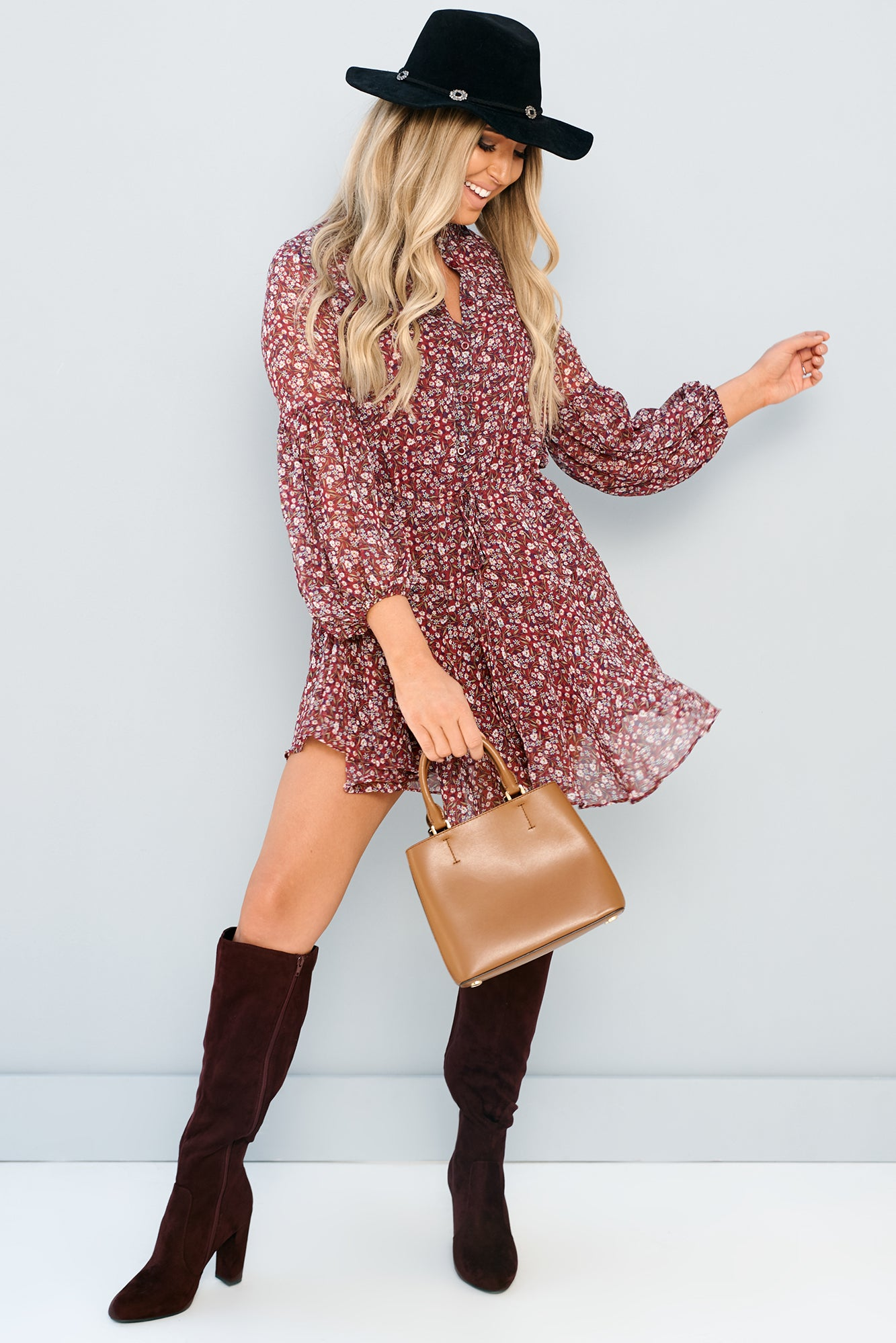 Wildflower Floral Long Sleeve Dress (Wine/Ivory)