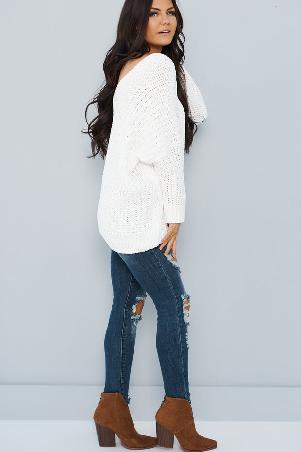 Snowball Fight Oversized Knit Sweater (Ivory)