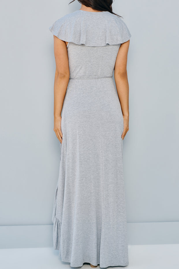 Vacation Mode Maxi Wrap Dress (Charcoal)