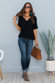 Never Changing Surplice Top (Black)