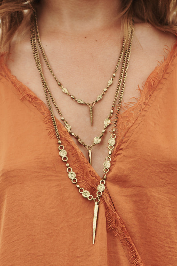 Triple Teardrops Multi Layer Necklace