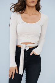 Wrapped With A Bow Crop Top (Taupe) - NanaMacs