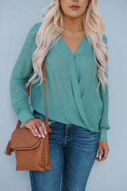 Further Notice Surplice Top (Deep Green)