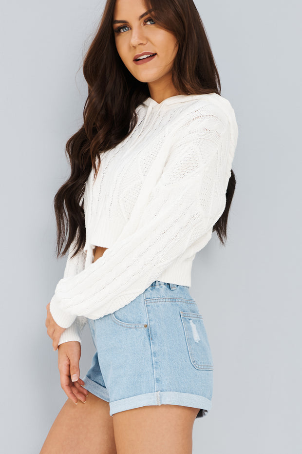 Just For Us Cropped Hoodie (Ivory)