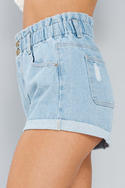 Luca Paperbag Shorts (Light Denim) - NanaMacs