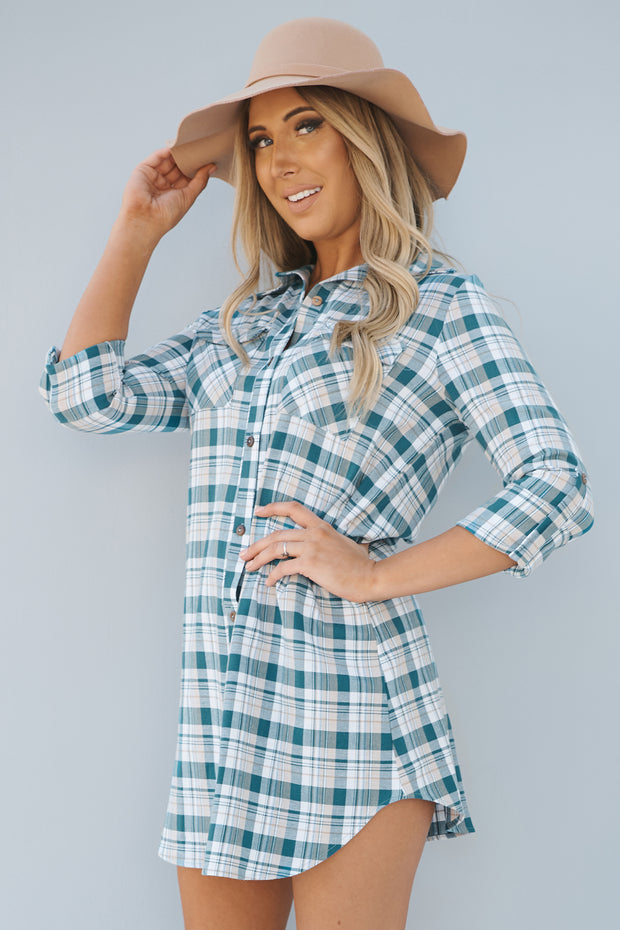 Need Attention Flannel Dress (Teal) - NanaMacs