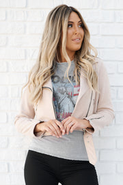 Bad And Beautiful Faux Suede Moto Jacket (Taupe)