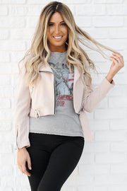 Bad And Beautiful Faux Suede Moto Jacket (Taupe) - NanaMacs