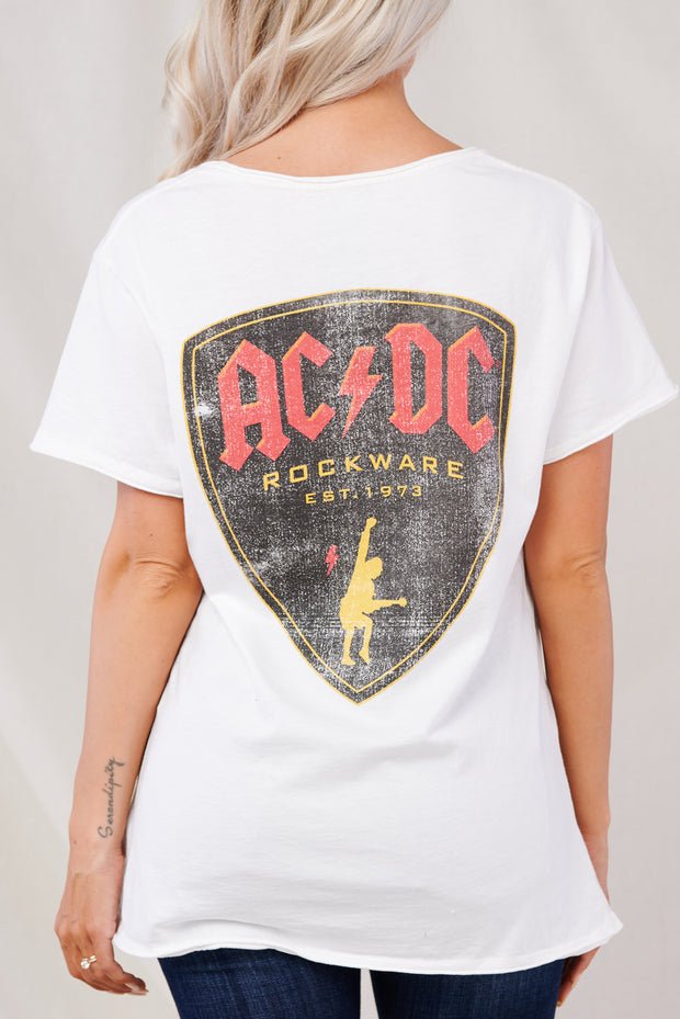 """AC/DC Rockware"" Graphic Tee (White) - NanaMacs"