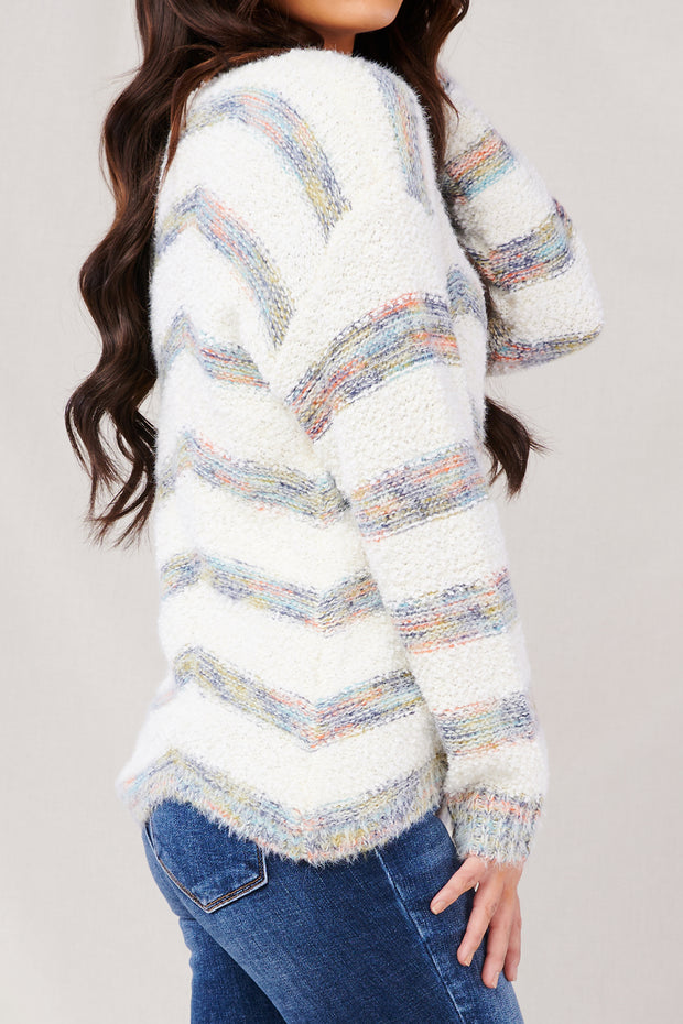 Wanderlust Path Chevron Print Sweater (Cream Multi)