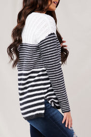Fall To Pieces Striped Sweater (Ivory/Charcoal) - NanaMacs