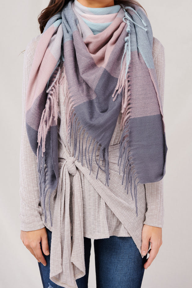 Let's Bundle Up Plaid Blanket Scarf (Pink)