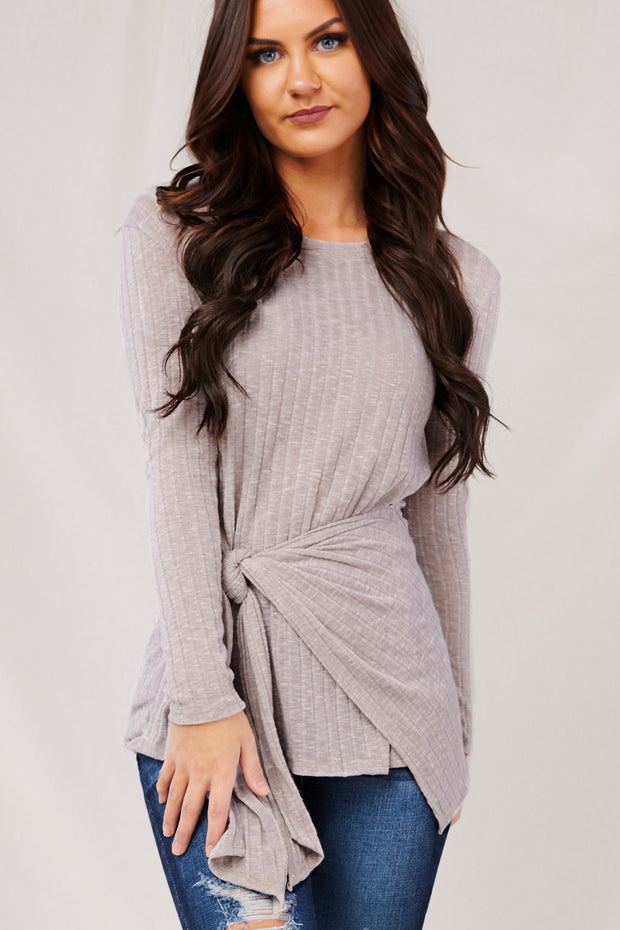 Gift Of Love Long Sleeve Top (Taupe) - NanaMacs