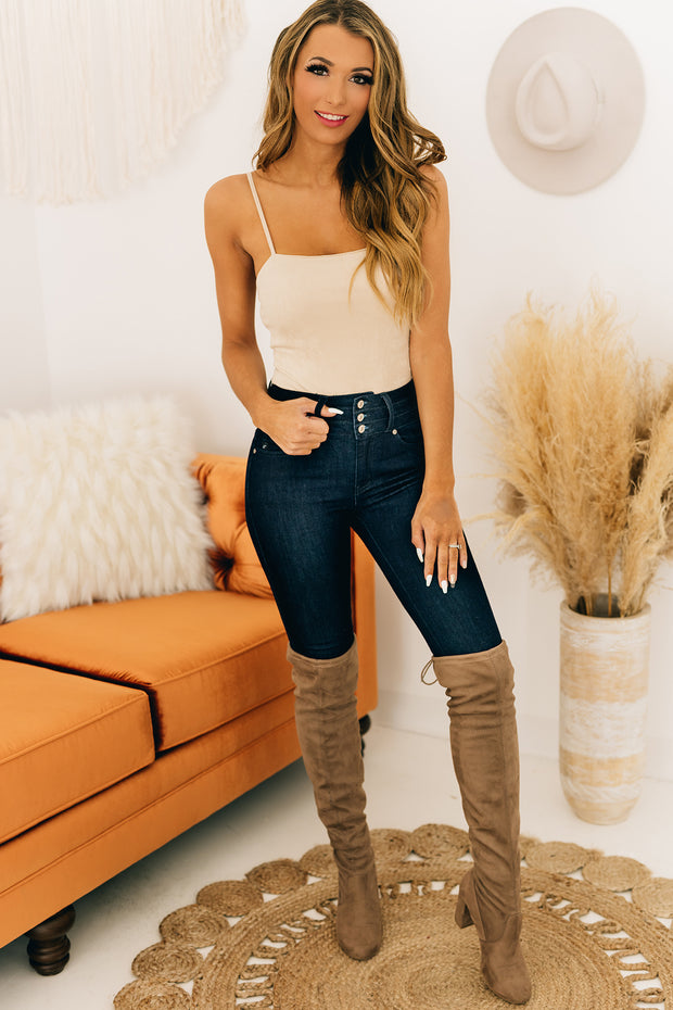 Forgetting You Suede Bodysuit (Taupe) - NanaMacs