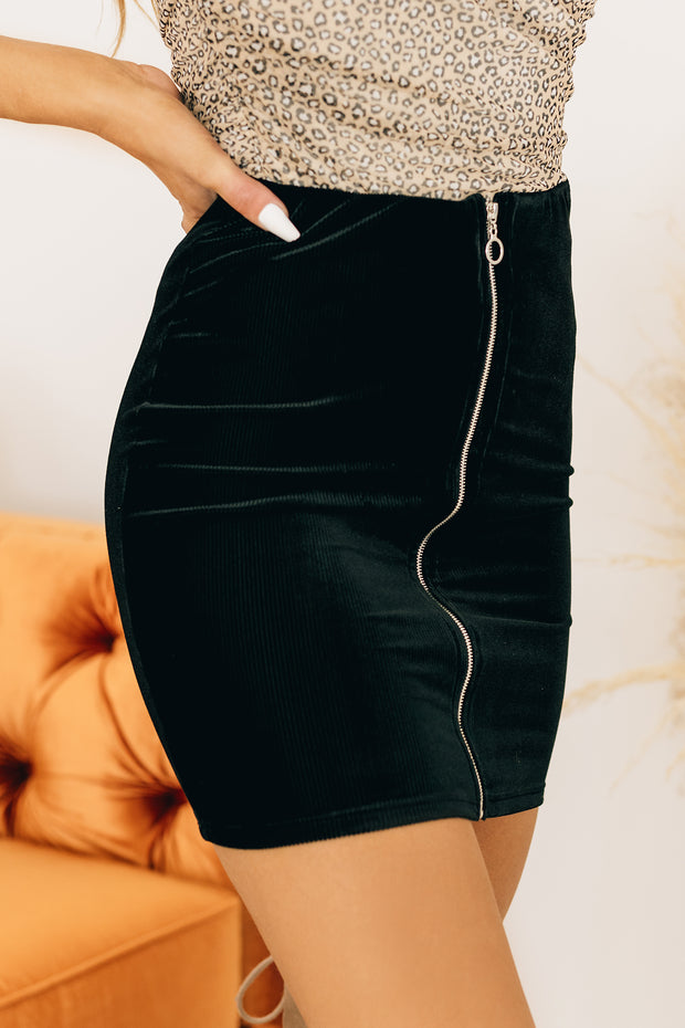 So Done Zipper Front Skirt (Black) - NanaMacs