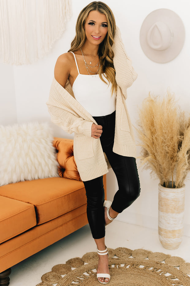 Live And Love Open Front Cardigan (Cream) - NanaMacs