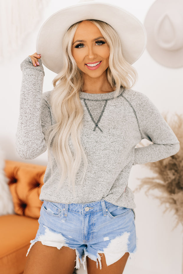 Easily Swayed Long Sleeve Top (Heather Grey) - NanaMacs