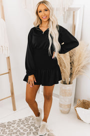 Hit The Courts Smocked French Terry Dress (Black) - NanaMacs