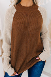 Finding My Reason Mock Neck Sweater (Camel/Taupe) - NanaMacs