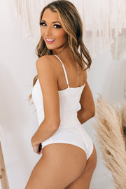 Searching For Perfection V Cut Bodysuit (White) - NanaMacs