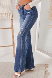 In Your Best Interests Distressed Flare Jeans (Dark) - NanaMacs