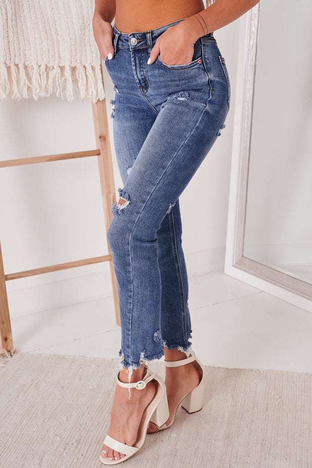Dare To Love Distressed Straight Leg Jeans (Medium) - NanaMacs
