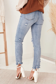 Dare To Love Distressed Straight Leg Jeans (Light) - NanaMacs