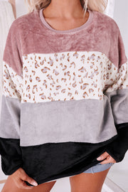 Can't Ignore Faux Fur Color Block Sweatshirt (Blush Combo) - NanaMacs