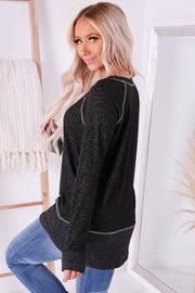 Easily Swayed Long Sleeve Top (Black) - NanaMacs