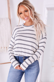 Read Between The Lines Striped Long Sleeve Top (Ivory) - NanaMacs