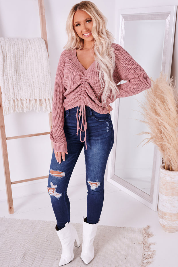 Genuine Love Ruched Front Sweater (Mauve) - NanaMacs