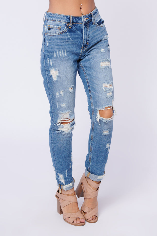 Well Noted Distressed KanCan Jeans (Medium Wash) - NanaMacs