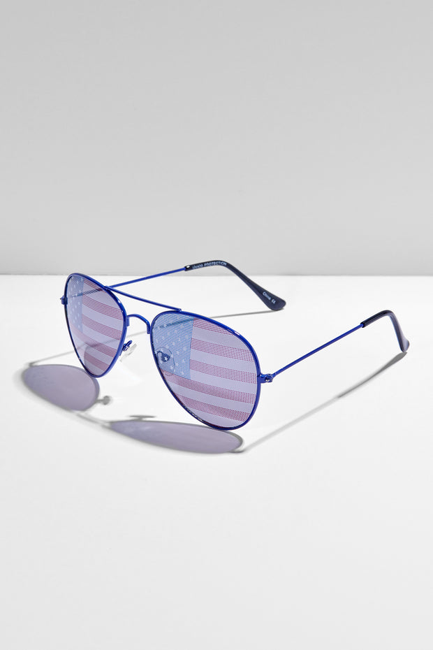 Seeing Stars And Stripes Aviator Sunglasses (Blue)