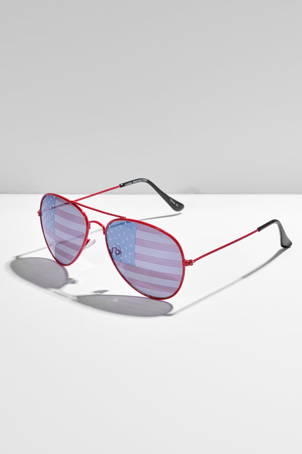 Seeing Stars And Stripes Aviator Sunglasses (Red)