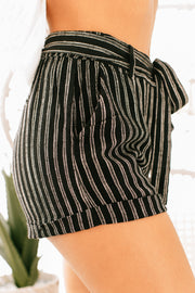 Favorite Things Striped Belted Shorts (Black) - NanaMacs