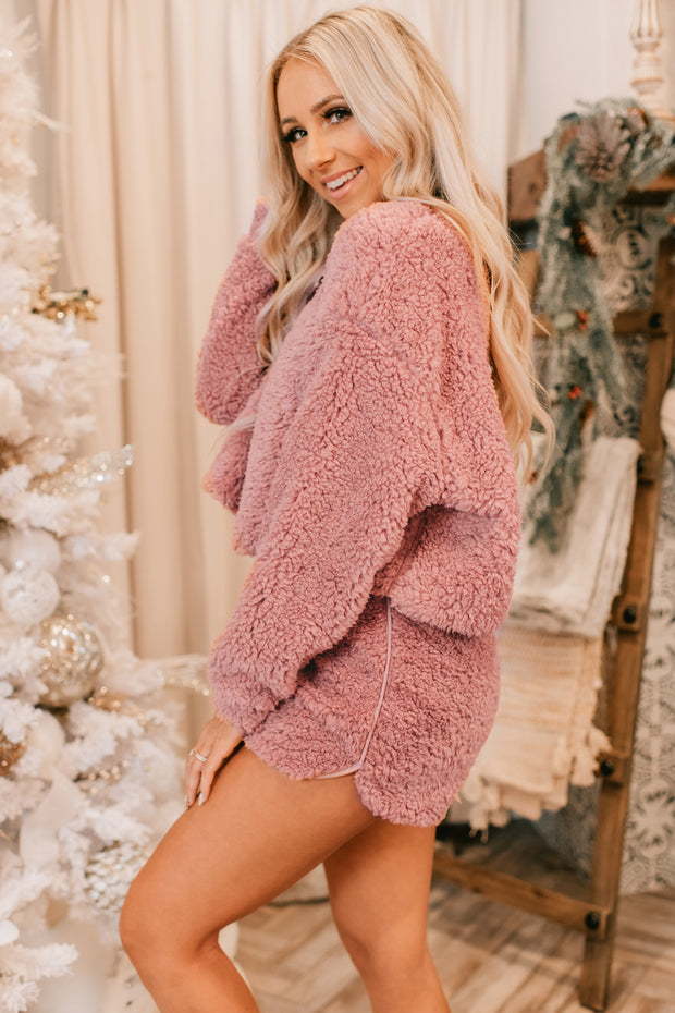 Sleep All Day Faux Fur Two Piece Set (Mauve)