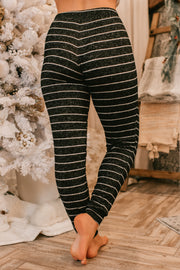 Comfy Night In Striped Knit Joggers (Black)