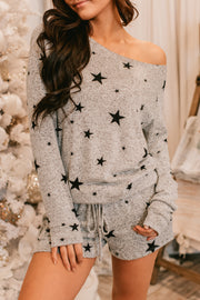 Wish Upon A Star Long Sleeve Knit Top (Heather Grey) - NanaMacs