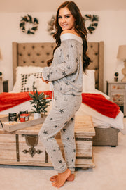 I Own My Heart Two Piece Jogger Set (Heather Grey/Ivory) - NanaMacs