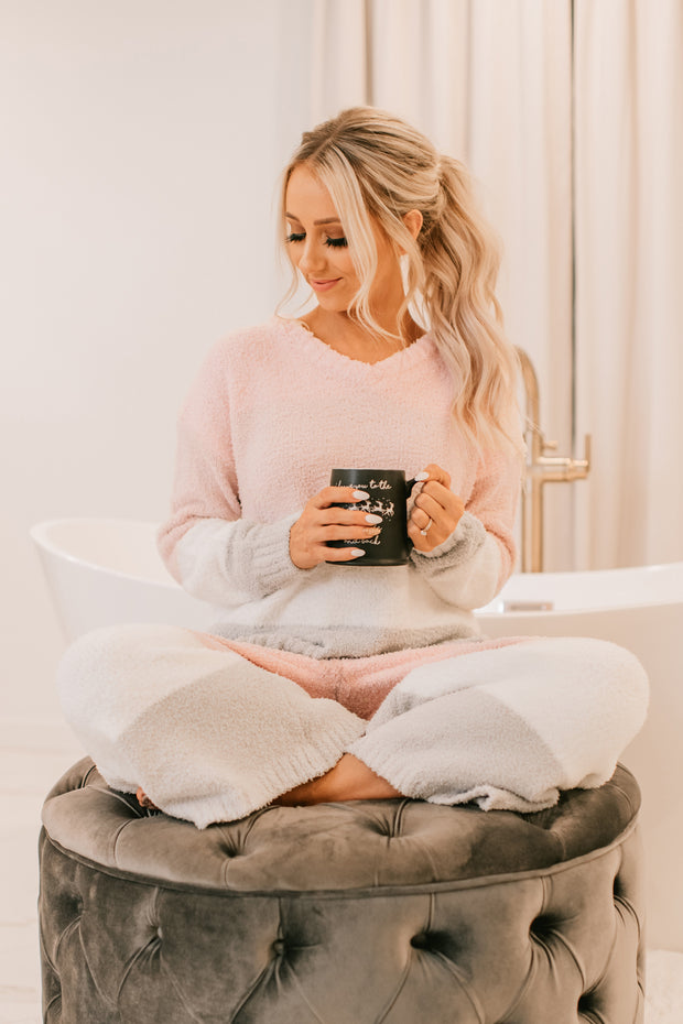Keepin' It Cozy Fuzzy Two Piece Pajama Set (Pink Multi)
