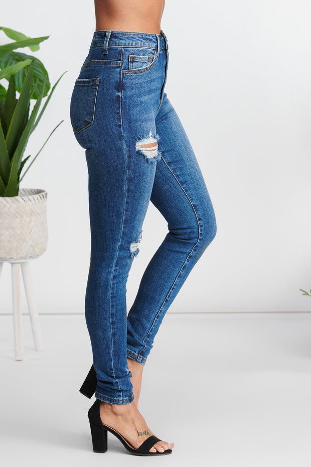 With Just A Look Distressed Jeans (Dark Wash)